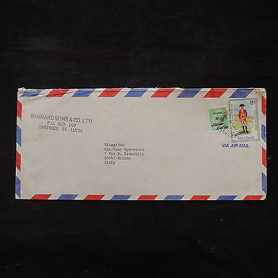 ZS-T466 ST LUCIA IND - Uniforms, Airmail To Milan Italy Cover