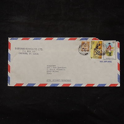 ZS-T467 ST LUCIA IND - Uniforms, 1989 Castries To Milan Italy Cover