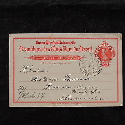 ZS-T847 BRAZIL - Postcard, 1904 100 Reis Red To Germany Cover