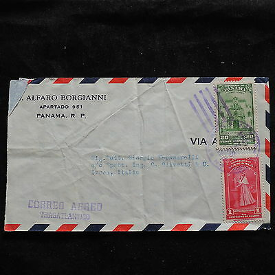 ZS-U237 PANAMA - Cover, Buildings, Costumes, 1954, Airmail To Italy