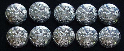 10 Small Russian Official Uniform Button Imperial Double-Headed Eagle Silver