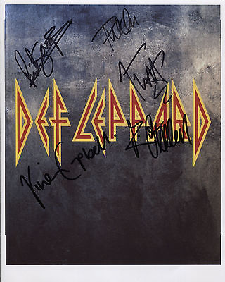 Def Leppard (Band) Fully  Signed 8 x 10 Photo Genuine In Person