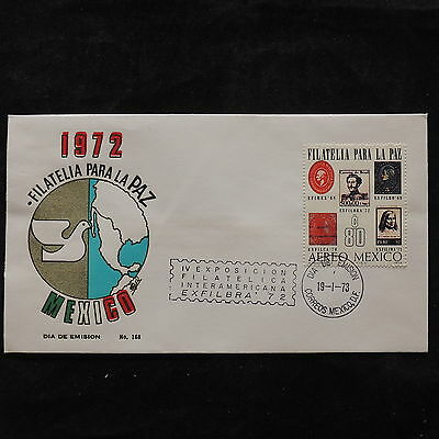 ZS-U476 MEXICO - Stamp On Stamp, 1973 Fdc, Expo Filatelica Cover