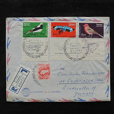 ZS-V022 BIRDS - Israel, 1964 Registered To Germany Cover