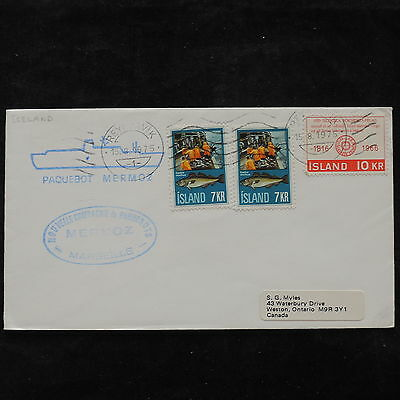 ZS-V074 FISH - Iceland, 1975 Paquebot Mermoz, Airmail To Canada Cover