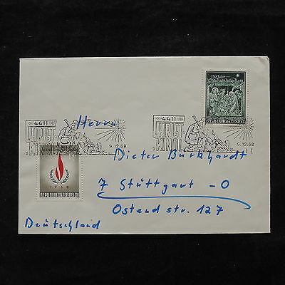 ZS-V155 AUSTRIA - Christmas, 1968 Airmail To Germany Cover
