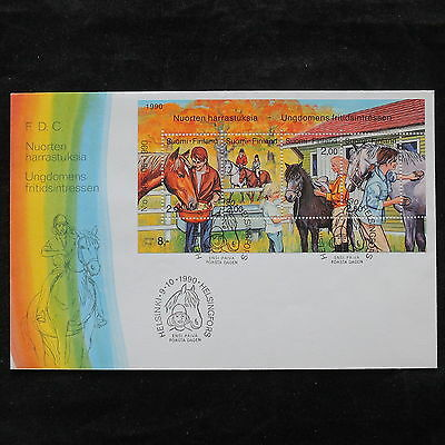 ZS-V209 HORSES - Finland, 1990 Fdc, Great Perfored Sheet Cover