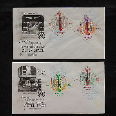 ZS-V264 SPACE - Haiti, 1963 Fdc, Un, Peaceful Uses Of Space, Lot Of 2 Covers