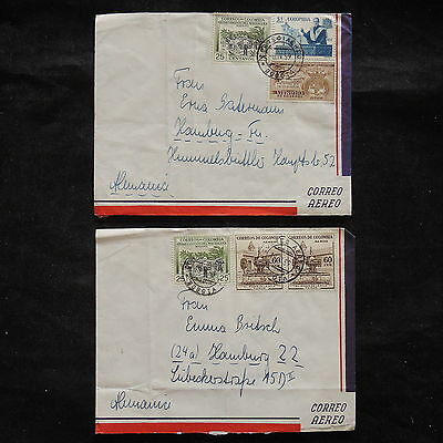ZS-V338 COLOMBIA - Covers, 1959 Airmail To Germany, Lot Of 2