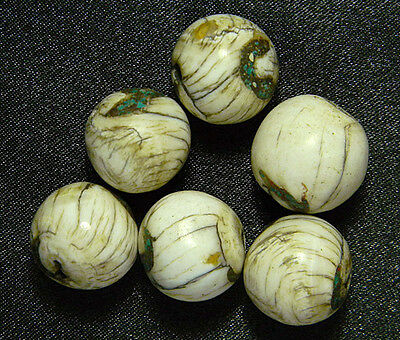 Lot 6 Old Tibet Nepal Holy Conch Shell Turquoise Inlay BALL Bead Handmade #3553