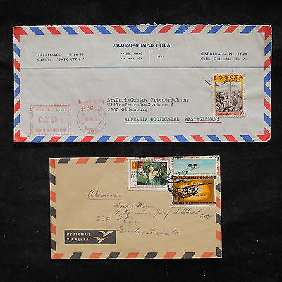 ZS-V387 COLOMBIA - Covers, 1989 Airmail To Germany, Lot Of 2