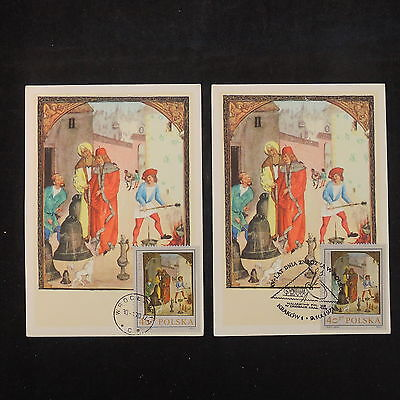 ZS-V737 PAINTINGS - Poland, Maximum Card, 1970, Art, Airmail, Lot Of 2 Postcards
