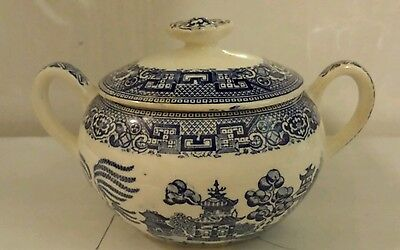 Blue Willow Sugar Bowl W/Lid Maker Unmarked
