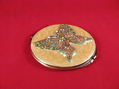 Vintage Rhinestone Butterfly & Enamel Portable Folding Compact Travel Mirror