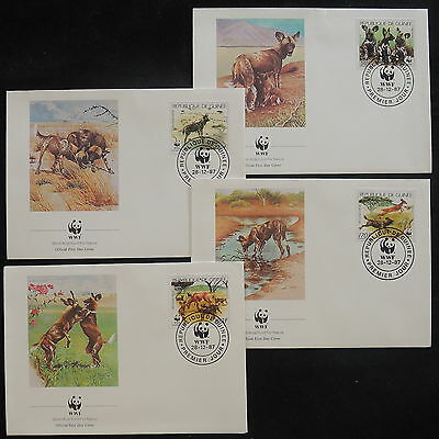 ZS-V879 WWF - Guinea, 1987, Fdc, Wild Animals, Airmail, Lot Of 4 Covers