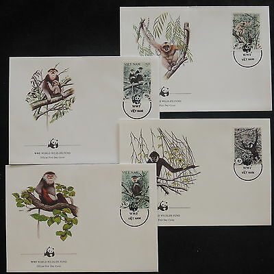 ZS-V908 WWF - Vietnam, 1987, Fdc, Monkey, Great Franking, Lot Of 4 Covers