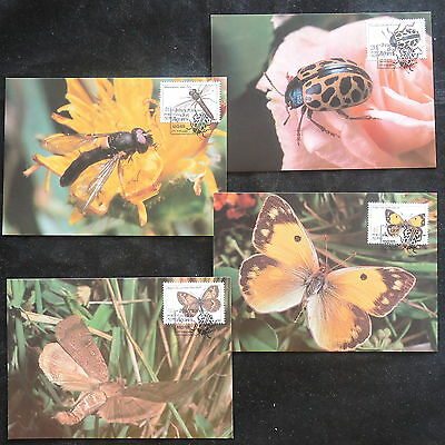 ZS-V926 BUTTERFLIES - Portugal, 1985, Maximum Card, Ancores, Lot Of 4 Postcards