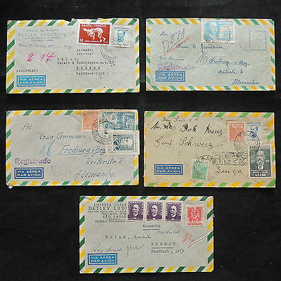 ZS-W677 BRAZIL - Covers, 1955, Lot Of 5 Great Airmail To Germany