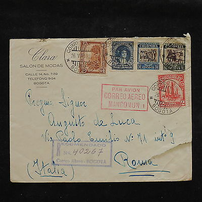 ZS-W979 COLOMBIA - Registered, 1937, Airmail To Italy Cover