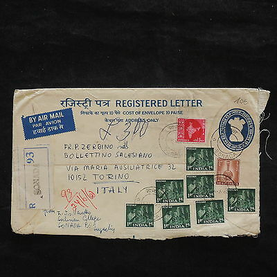 ZS-X023 INDIA IND - Registered, 1968, Great Franking To Italy Cover
