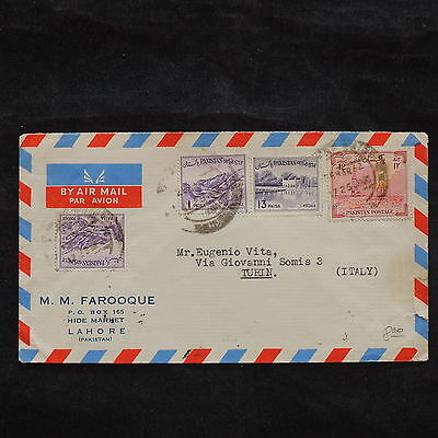 ZS-X057 PAKISTAN - Cover, 1955, Airmail To Italy