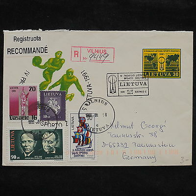 ZS-X095 LITHUANIA - Registered, 1991, Fdc, Sport, To Germany Cover
