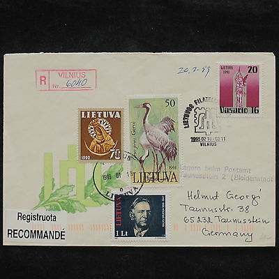 ZS-X112 LITHUANIA - Registered, 1999, Vilnius To Germany, Great Franking Cover