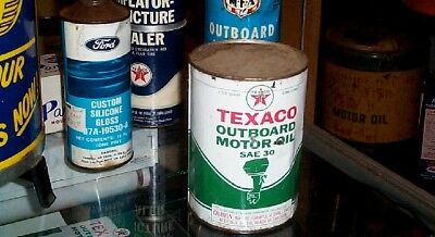 Vintage Texaco Outboard Oil Can w/ Boat Motor Sign Gas Gasoline Man Cave