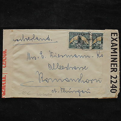 ZS-X386 SOUTH AFRICA IND - Censored, 1941, Examiner 2240, Great Franking Cover