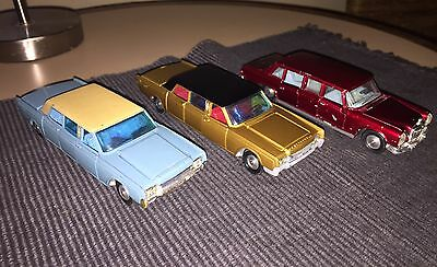 Corgi #262 Lincoln continental Blue/Gold & Dinky 600 Pullman Limousines