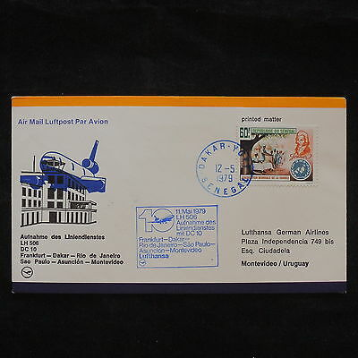 ZS-X675 SENEGAL IND - Lufthansa, 1979, FFC To Montevideo, Printed Matter Cover
