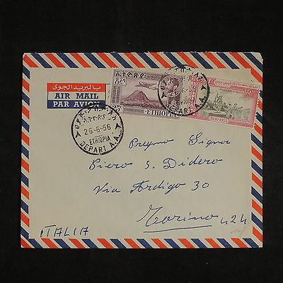 ZS-X826 ETHIOPIA - Aviation, 1956, Great Franking Airmail To Italy Cover