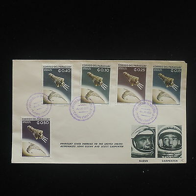 ZS-Y085 ROCKET - Paraguay, 1962, Fdc, Space Homage To Usa Astrtonauts Cover