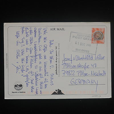 ZS-Y117 SHELLS - Maldives Ind, 2003, Airmail To Germany Postcard