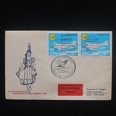 ZS-Y307 PARAGUAY - Lufthansa, 1976 Fdc, 50Th Anniversary, Airplanes Cover