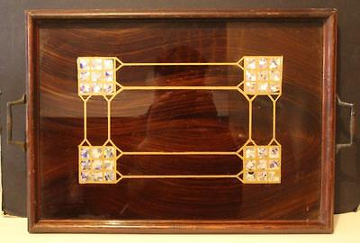 An Early C20th Twin Handled Serving Tray Set with Foil Squares