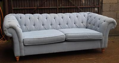 A Large Chesterfield Deep Buttoned 3 Seater Sofa Sky Blue Upholstery Linen