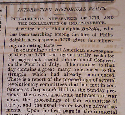1869 Rare Newspaper ~ Look Back Of The Declaration Of Independence