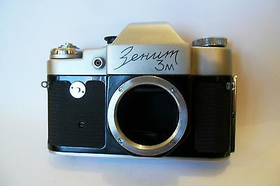 Early Vintage Zenit 3M 35mm SLR body and case, for display/spares/repair