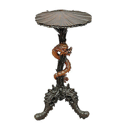 antique carved wooden dragon side table after Viardot ca. 1890