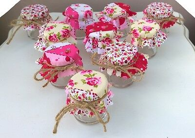 Set of 10 Shabby Chic Mini Jam Jars Wedding Favours Vintage Pink Patchwork