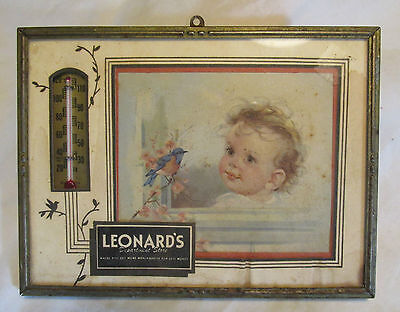 """Vintage advertising """"Leonard's Department Store"""",thermometer/bluebird,Ft. Worth"""