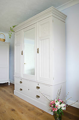 Large Antique Double Wardrobe Armoire Compactum Drawers Painted Farrow & Ball
