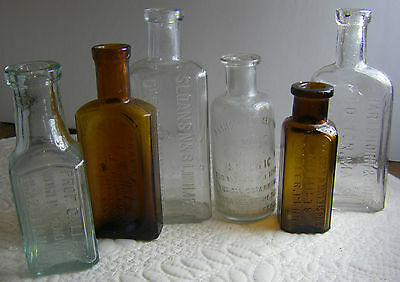 antique bottles  1800's  lot of 5 ..all different