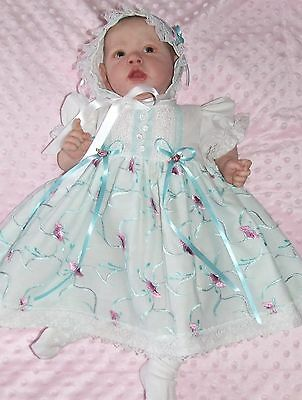 Reborn Baby Doll Girl Dress Bonnet And Socks Matching Set *no Doll* Must See