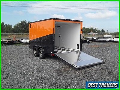 2017 7 x 12 enclosed double motorcycle trailer orange and black finsihed harley