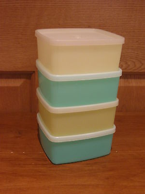 TUPPERWARE 4 vintage jade & yellow square-round freezer containers w/lids #311