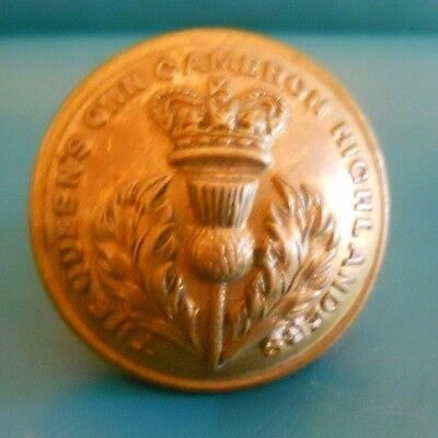 Officers Gilt Button .queen's Own Cameron Highlanders. Qvc.