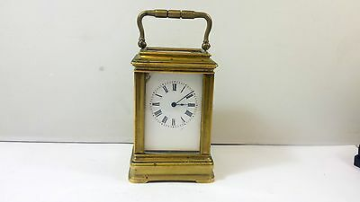 CIRCA 1880's MINIATURE FRENCH 8-DAY GORGE CASED CARRIAGE CLOCK IN GOOD CONDITION