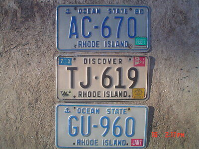 Lot of 3 diff. Rhode Island license plate group 3 plates